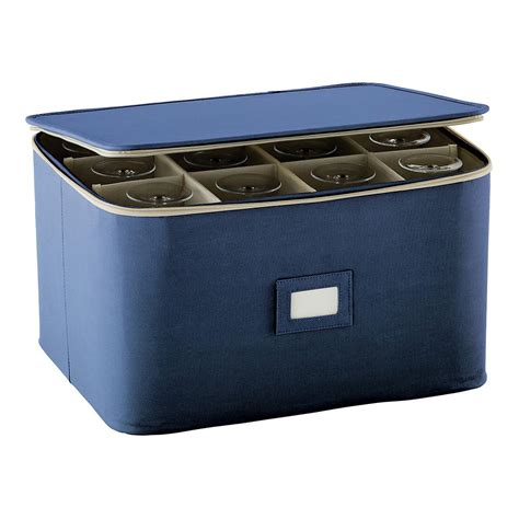 barware stores blue stemware storage case the container store