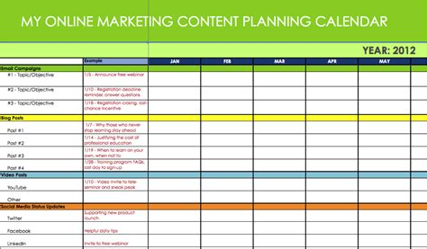 Marketing Calendar Excel Calendar Template Excel Digital Content Strategy Template