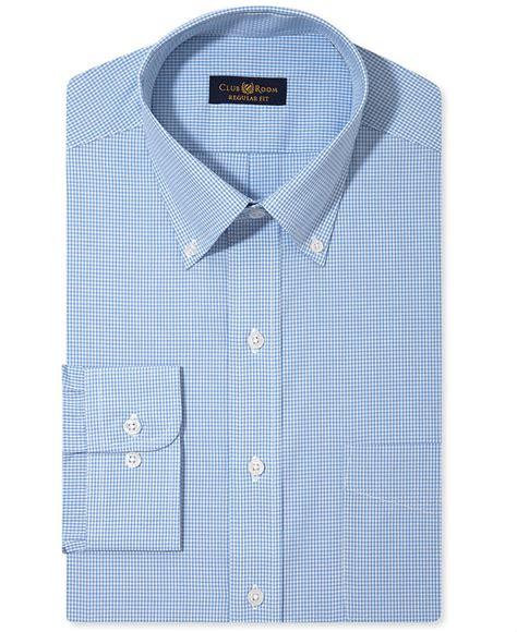 club room dress shirt medium blue gingham sleeved