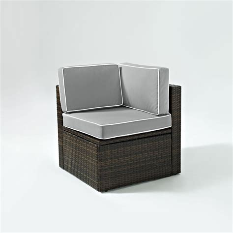 gray wicker chair cushions palm harbor outdoor wicker corner chair in brown with grey