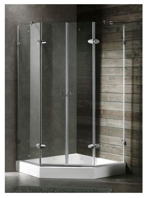 4 Shower Stall Kit by 42 In Frameless Neo Angle Chrome Shower Enclosure