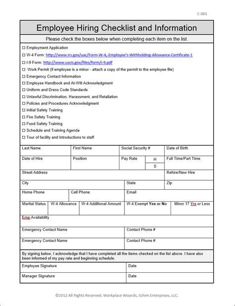 employee new hire checklist workplace wizards restaurant