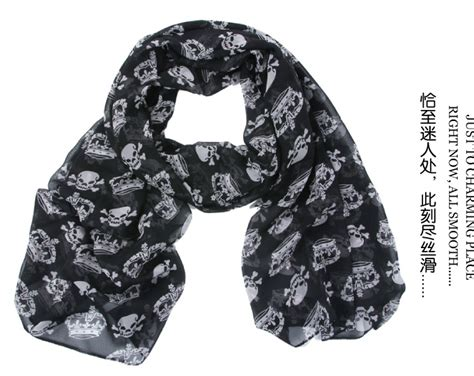 popular skull print scarf black white aliexpress