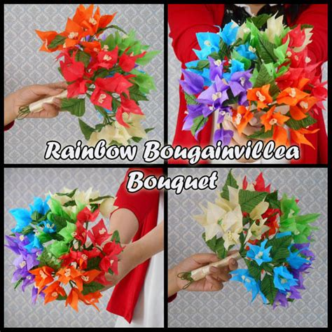 How To Make Tissue Paper Bouquet - tissue paper flowers rainbow bougainvillea bouquet