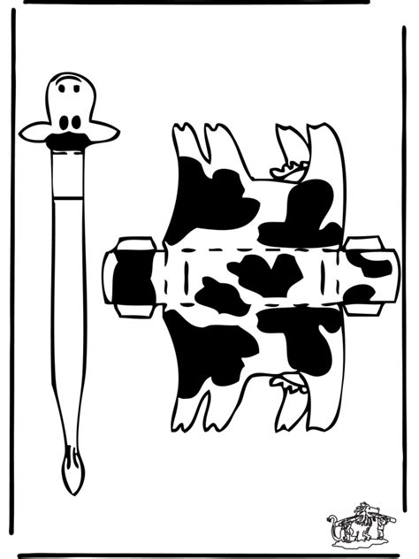Cow Papercraft - free cow cutout coloring pages