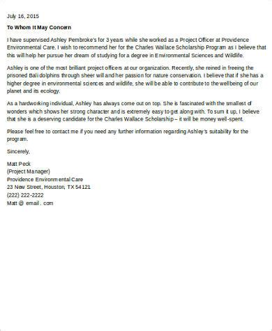 Scholarship Letter Of Recommendation Sle From Employer Scholarship Letter Employer 28 Images Letter Of Recommendation For Scholarship Letter Of
