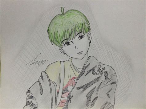 V Drawing Bts Easy by Bts Suga Drawing By Ayanohime On Deviantart