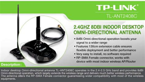 Tp Link Wider Coverage 8dbi tp link tl ant2408c indoor omni directional antenna 8dbi