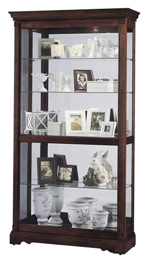 howard miller curio cabinet windsor cherry finish wood curio cabinets dublin model windsor cherry finish