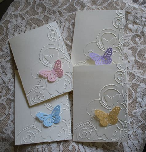 Handmade Embossed Cards - handmade greeting cards set of 4 embossed butterfly cards