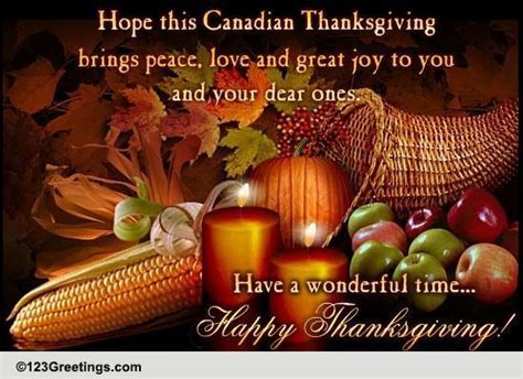 Warm Canadian Thanksgiving Wishes. Free Happy Thanksgiving