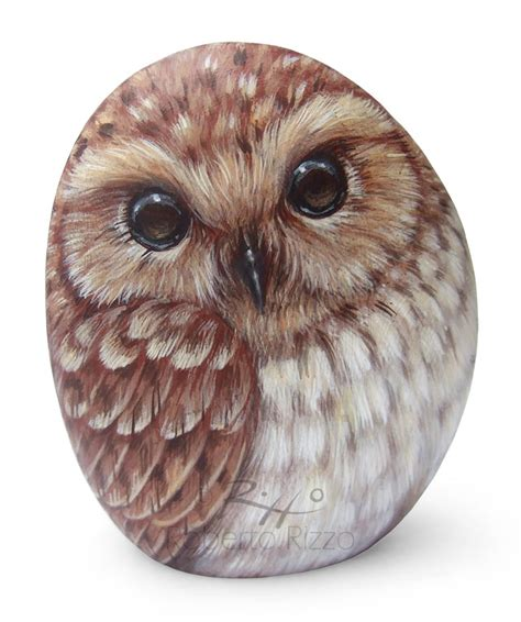 rock painted tawny owl  stunning piece  art  owl