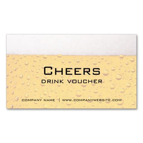 drink token template bar restaurant or brewery drink vouchers business card