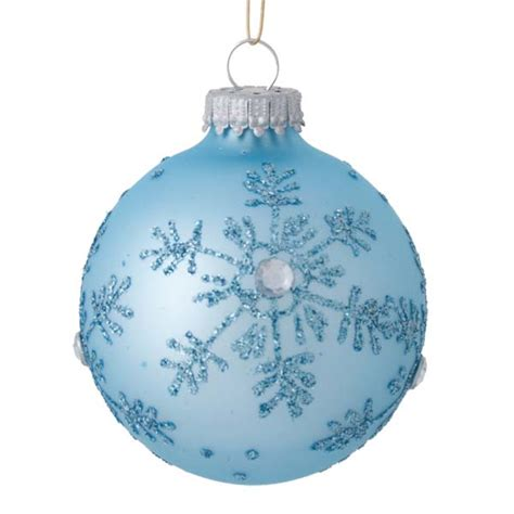 krebs matt shiny pale blue snowflake glass baubles 4 x