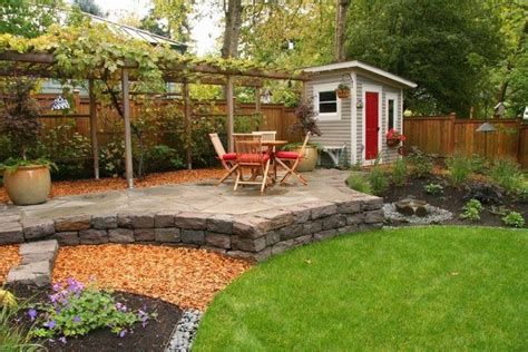 Backyard Sted Concrete Ideas Backyard Landscape Ideas Wooden Grape Arbor Garden Shed Outdoor Furniture House Design Ideas