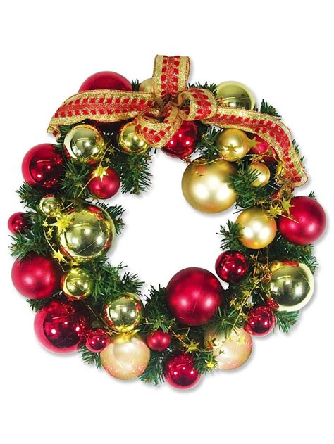 pre decorated red gold bauble pine wreath with star