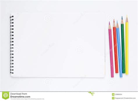 sketch book with pencil white sketchbook and color pencils stock images image