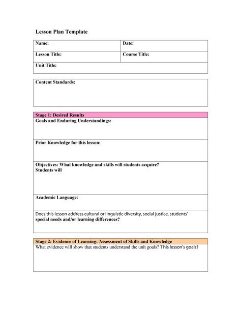 easy lesson plan template lesson plan organizer basic lesson