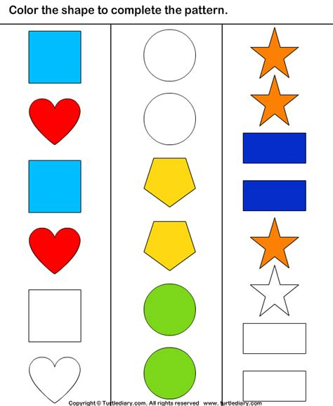 complete patterns by coloring the missing shapes worksheet complete the shape pattern worksheet turtle diary