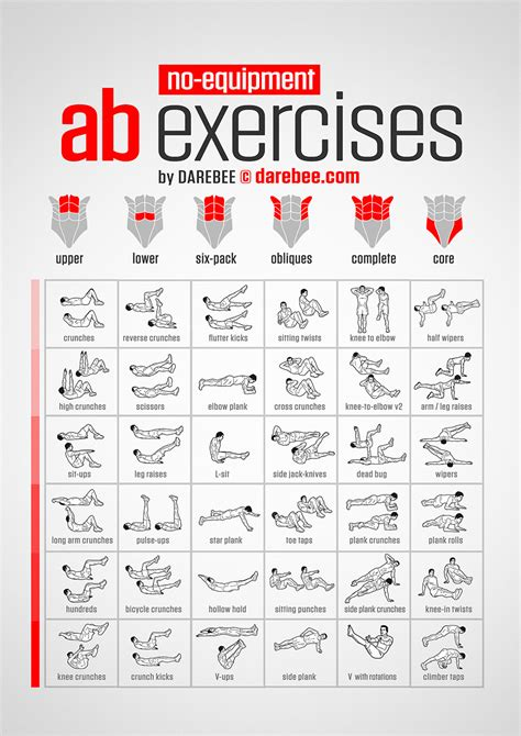 quick chart   equipment ab exercises coolguides