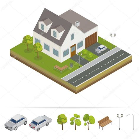 modern house modern home isometric concept real estate