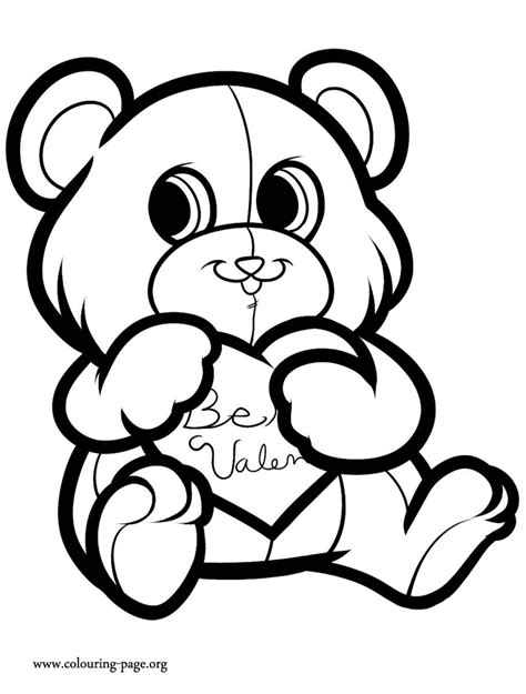 valentine s day a cute love bear coloring page