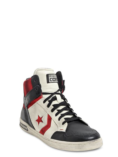 high top leather sneakers lyst converse weapon leather high top sneakers in white