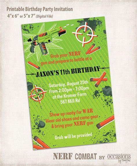 printable birthday invitations target printable nerf birthday invitation digital by