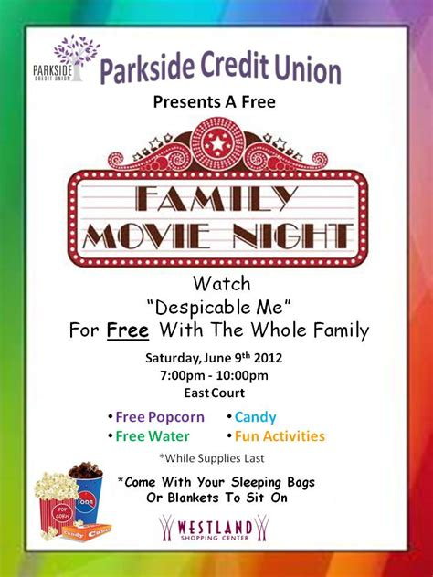 7 best images of printable movie night flyer template