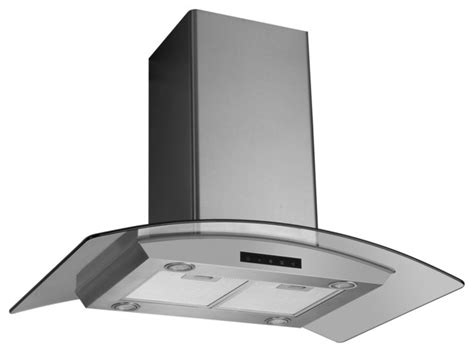 Kitchen Island Stove 30 quot stainless steel island hood with arched glass modern