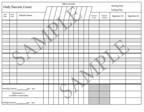 controlled substance log sheet template book covers