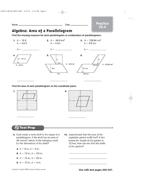 Area Of A Parallelogram Worksheet by Parallelogram Properties Worksheet Free Worksheets Library