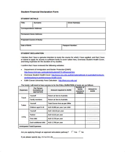 sle financial declaration form 7 free documents