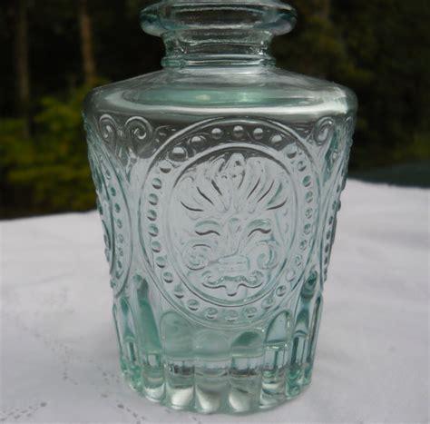 Fleur De Lis Vases by Vintage Depression Glass Bottle Vase With Fleur De Lis Design