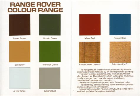 1981 range rover colour and trim chart inner homer flickr
