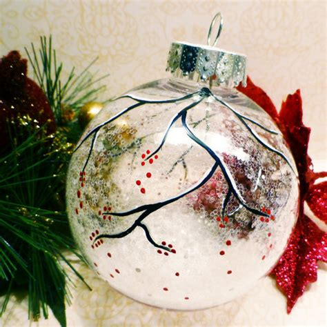 snowy berry branch clear sparkle ornament hand painted