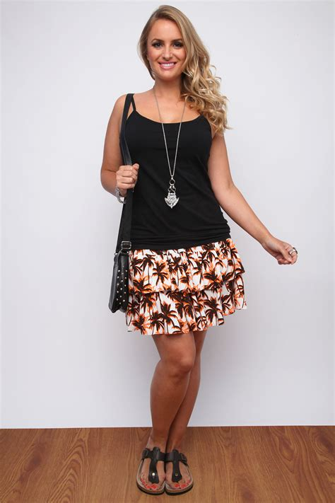 Rara Skirt by Orange Black Palm Tree Print Layered Rara Skirt