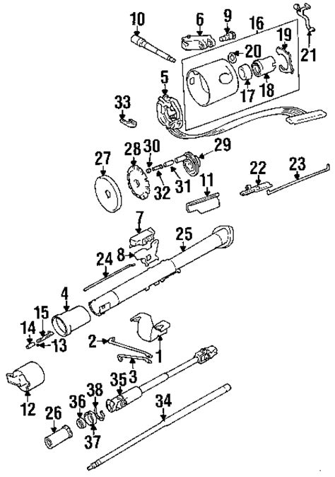 Jeep Yj Steering Column Exploded View For The 1989 Jeep Yj Wrangler Non Tilt