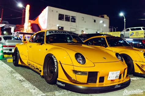 rwb porsche yellow rwb porsche meet at roppongi japan stancenation