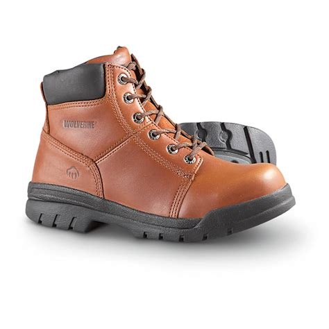 mens steel toed boots s wolverine marquette 6 quot steel toe work boots brown