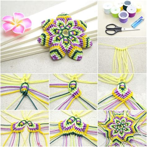 Learning Macrame - diy rainbow macrame flower with half hitch