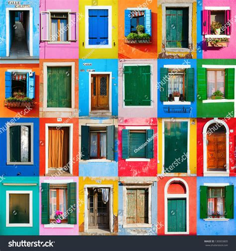 colorful doors collage stock photo image 41305174 collage of colorful windows and doors in burano stock