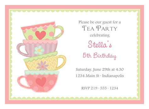 free afternoon tea invitation template template