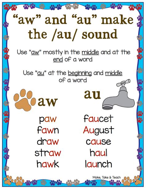 au pattern words free au aw anchor chart and 11 interactive activities for