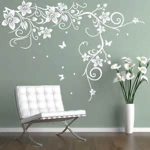 Flower Wall Art Stickers Butterfly Vine Flower Vinyl Wall Art Stickers Wall Decals