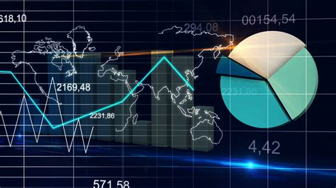 World Map Statistic Data Graph Dark Blue Loop Finance