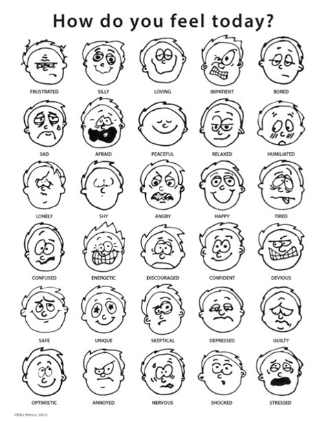 printable coloring pages emotions printable feelings chart cakepins com work pinterest