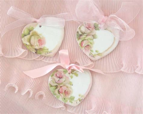 Lovely Rose Romantic Vintage Shabby Chic Wood Hearts For Shabby Chic Favors