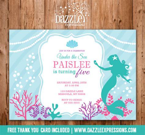 mermaid birthday card template printable mermaid birthday invitation teal turquoise