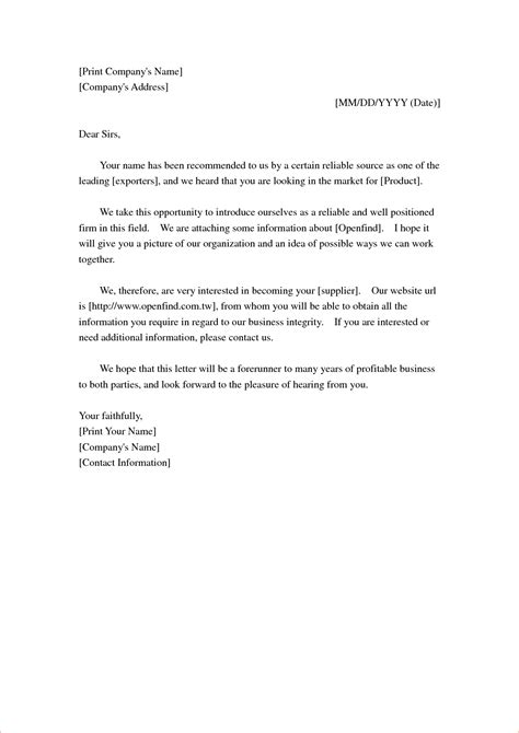 Business Letter Template Introducing Your Company 10 Letter Introducing Yourself Memo Formats
